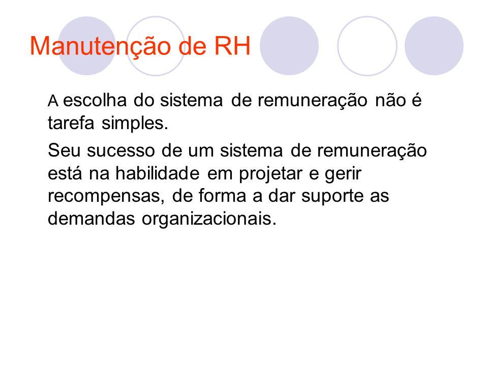 Manutenção de RH A escolha do sistema de remuneração não é tarefa simples. Seu sucesso de um sistema de remuneração está na habilidade em projetar e g
