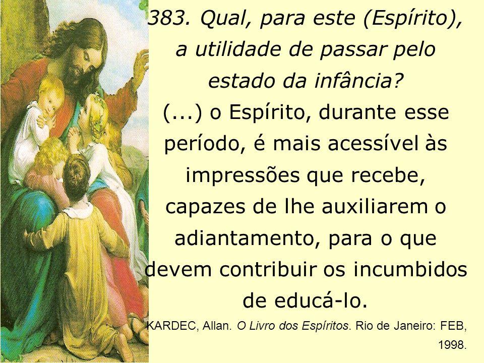 383. Qual, para este (Espírito), a utilidade de passar pelo estado da infância? (...) o Espírito, durante esse período, é mais acessível às impressões