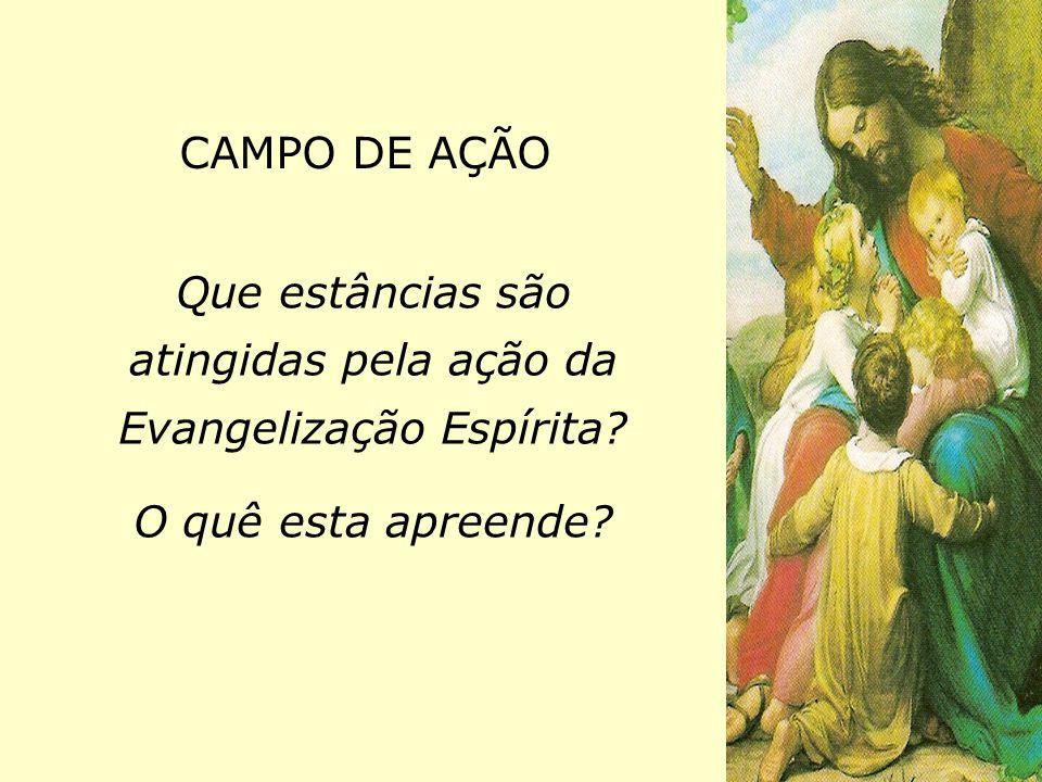 CAMPO DE AÇÃO Que estâncias são atingidas pela ação da Evangelização Espírita? O quê esta apreende?
