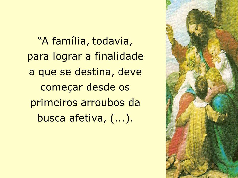 """A família, todavia, para lograr a finalidade a que se destina, deve começar desde os primeiros arroubos da busca afetiva, (...)."