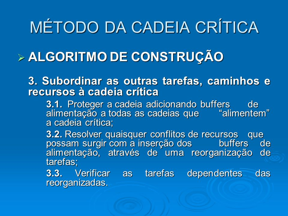 MÉTODO DA CADEIA CRÍTICA  ALGORITMO DE CONSTRUÇÃO 3. Subordinar as outras tarefas, caminhos e recursos à cadeia crítica 3.1. Proteger a cadeia adicio