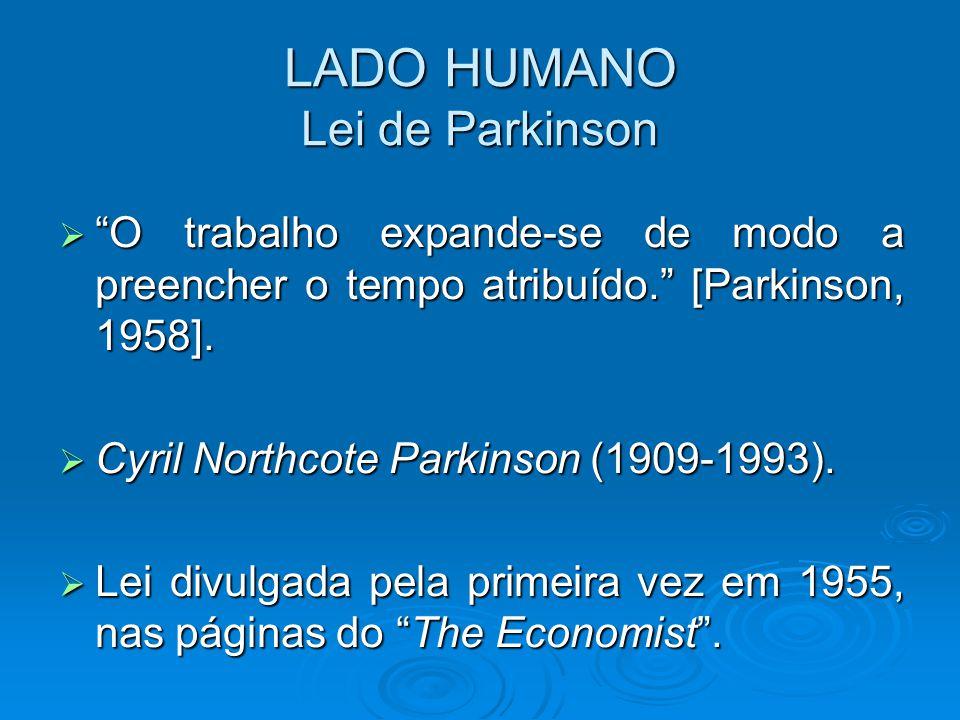 "LADO HUMANO Lei de Parkinson  ""O trabalho expande-se de modo a preencher o tempo atribuído."" [Parkinson, 1958].  Cyril Northcote Parkinson (1909-199"