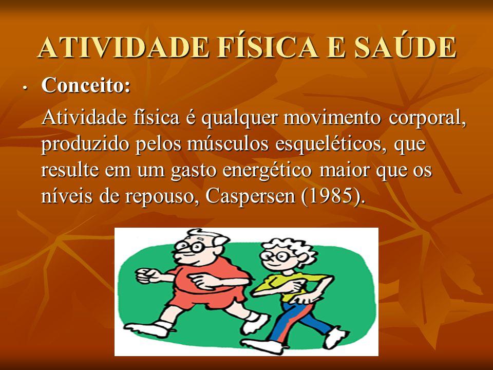 ATIVIDADE FÍSICA E SAÚDE Conceito: Conceito: Atividade física é qualquer movimento corporal, produzido pelos músculos esqueléticos, que resulte em um