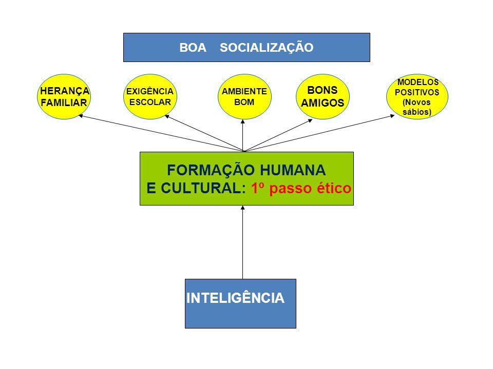 INTELIGÊNCIA FORMAÇÃO HUMANA E CULTURAL: 1º passo ético MODELOS POSITIVOS (Novos sábios) HERANÇA FAMILIAR EXIGÊNCIA ESCOLAR AMBIENTE BOM BONS AMIGOS BOA SOCIALIZAÇÃO