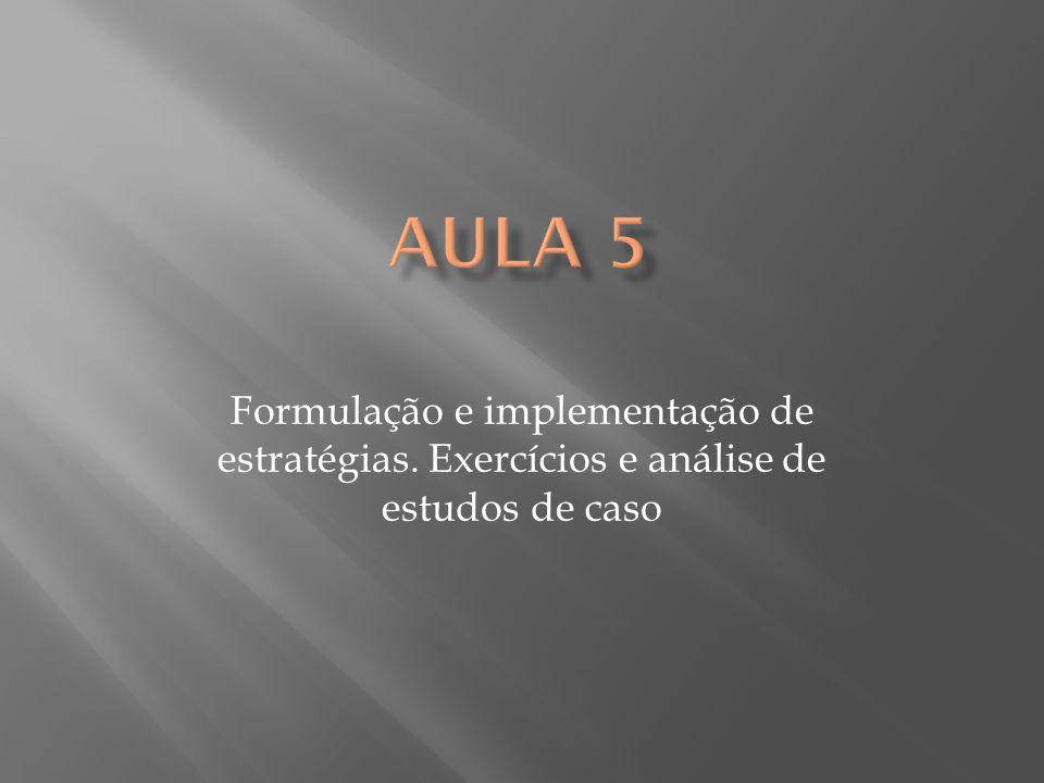 Formulação e implementação de estratégias. Exercícios e análise de estudos de caso