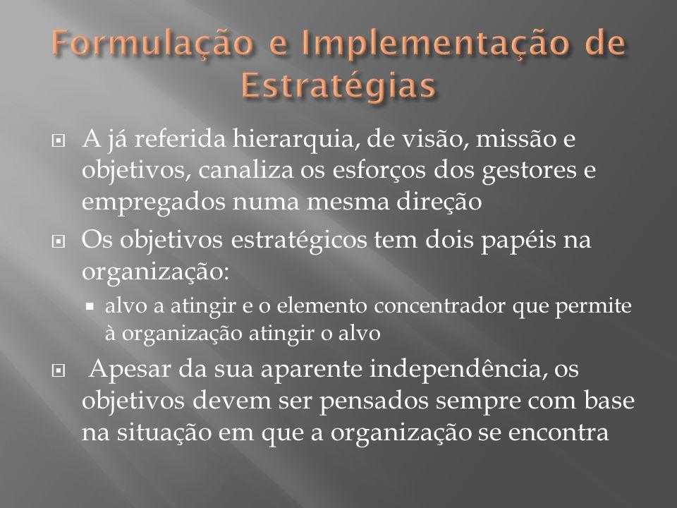  A já referida hierarquia, de visão, missão e objetivos, canaliza os esforços dos gestores e empregados numa mesma direção  Os objetivos estratégico