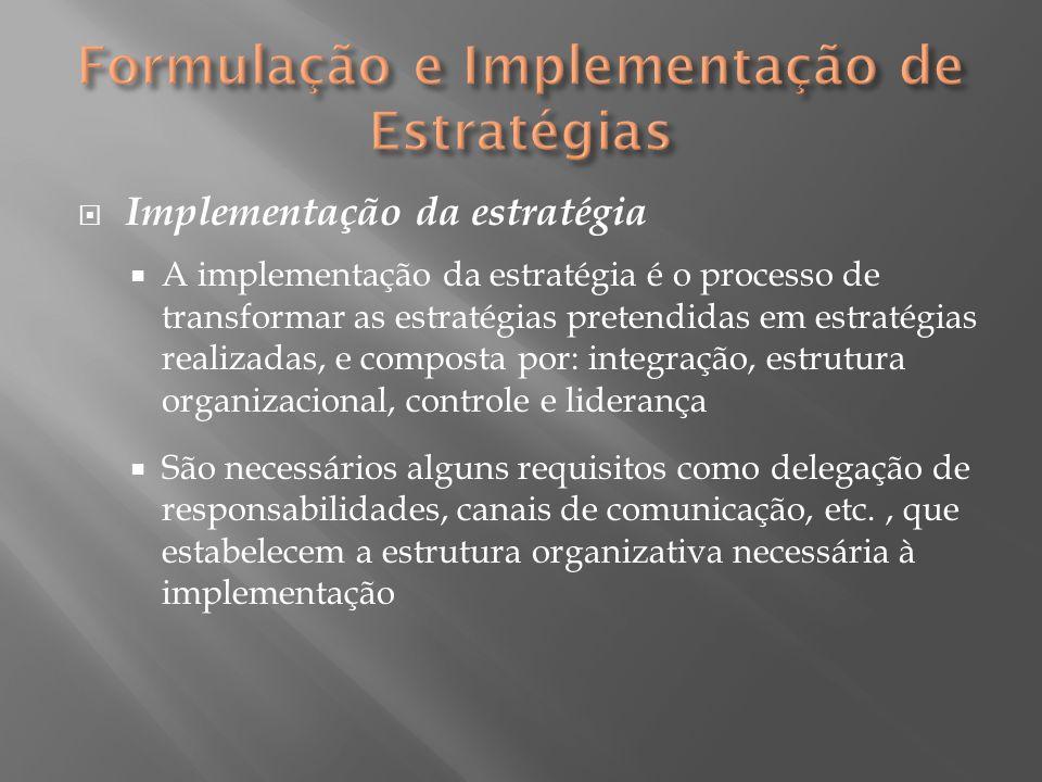  Implementação da estratégia  A implementação da estratégia é o processo de transformar as estratégias pretendidas em estratégias realizadas, e comp