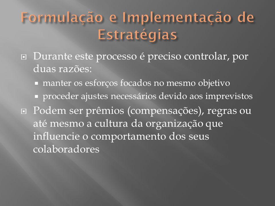  Durante este processo é preciso controlar, por duas razões:  manter os esforços focados no mesmo objetivo  proceder ajustes necessários devido aos