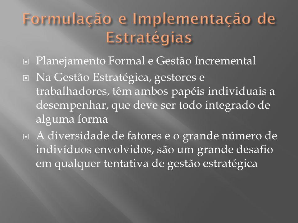  Planejamento Formal e Gestão Incremental  Na Gestão Estratégica, gestores e trabalhadores, têm ambos papéis individuais a desempenhar, que deve ser