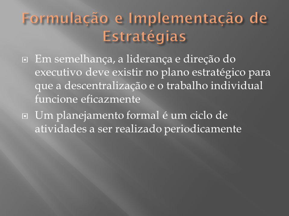  Em semelhança, a liderança e direção do executivo deve existir no plano estratégico para que a descentralização e o trabalho individual funcione efi