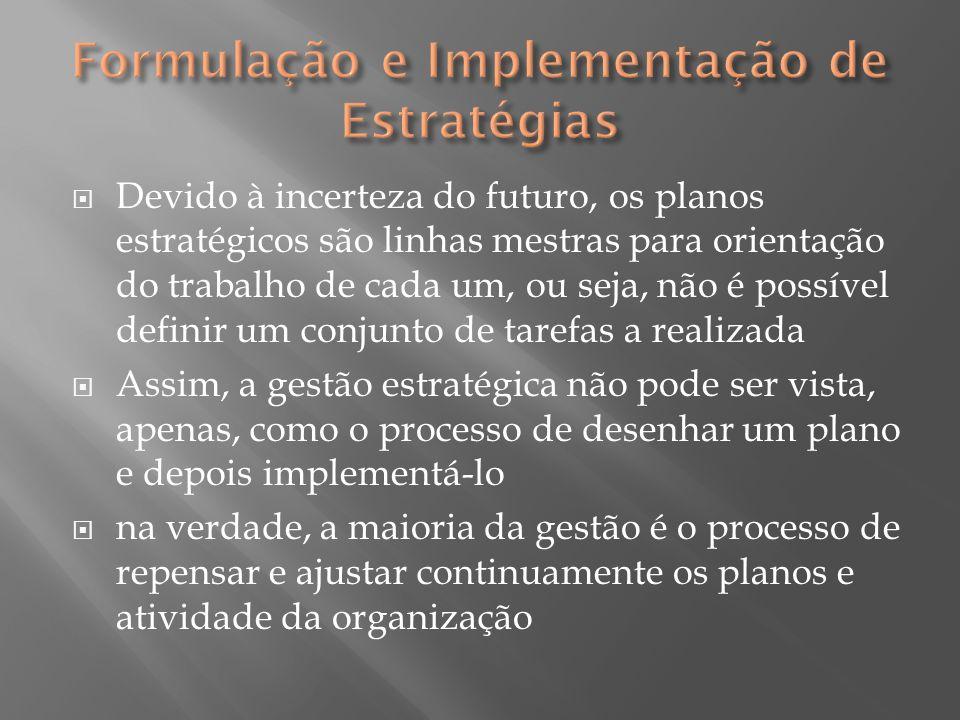  Devido à incerteza do futuro, os planos estratégicos são linhas mestras para orientação do trabalho de cada um, ou seja, não é possível definir um c