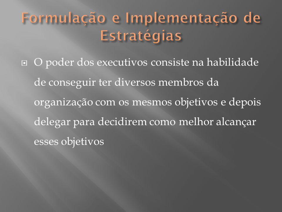  O poder dos executivos consiste na habilidade de conseguir ter diversos membros da organização com os mesmos objetivos e depois delegar para decidir