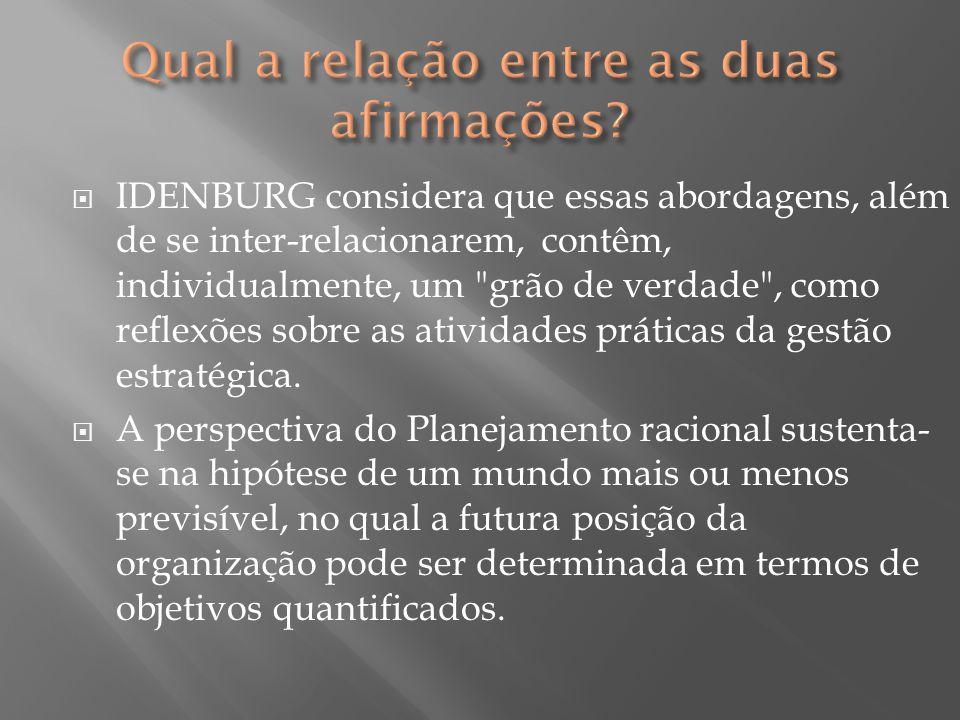  IDENBURG considera que essas abordagens, além de se inter-relacionarem, contêm, individualmente, um