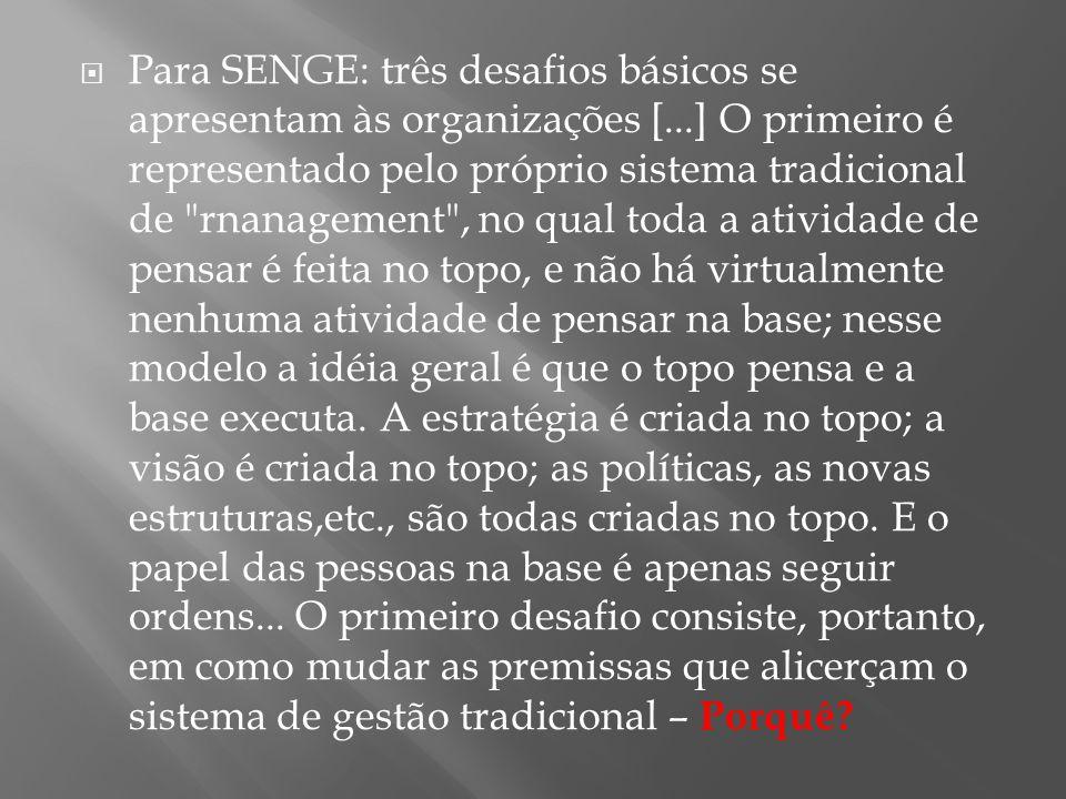  Para SENGE: três desafios básicos se apresentam às organizações [...] O primeiro é representado pelo próprio sistema tradicional de