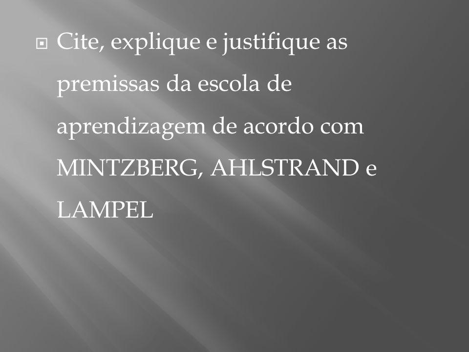  Cite, explique e justifique as premissas da escola de aprendizagem de acordo com MINTZBERG, AHLSTRAND e LAMPEL