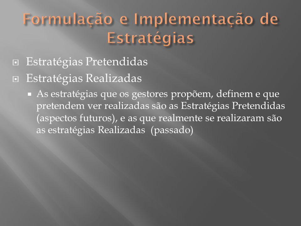 Estratégias Pretendidas  Estratégias Realizadas  As estratégias que os gestores propõem, definem e que pretendem ver realizadas são as Estratégias