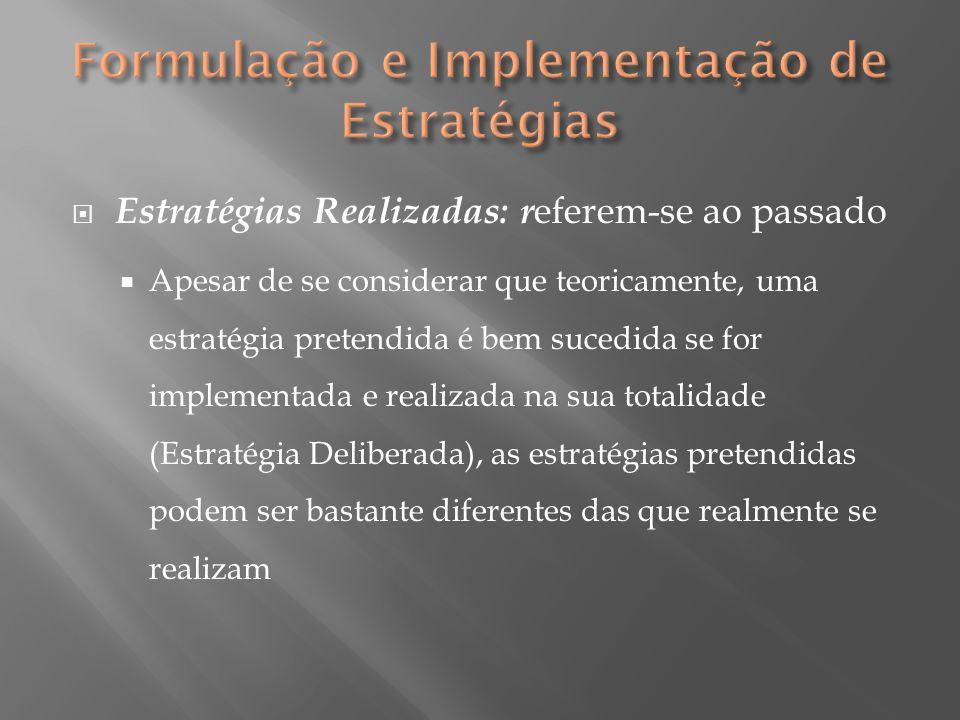  Estratégias Realizadas: r eferem-se ao passado  Apesar de se considerar que teoricamente, uma estratégia pretendida é bem sucedida se for implement