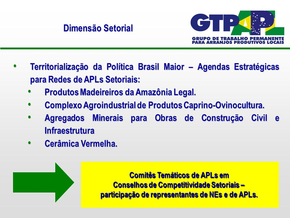 Territorialização da Política Brasil Maior – Agendas Estratégicas para Redes de APLs Setoriais: Territorialização da Política Brasil Maior – Agendas Estratégicas para Redes de APLs Setoriais: Produtos Madeireiros da Amazônia Legal.