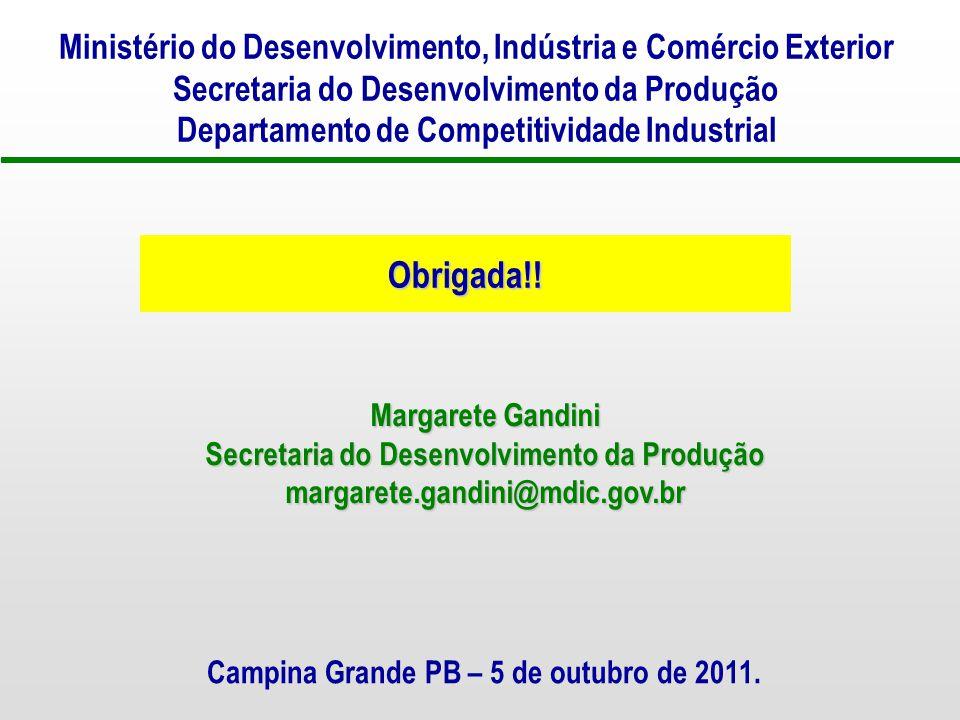 Ministério do Desenvolvimento, Indústria e Comércio Exterior Secretaria do Desenvolvimento da Produção Departamento de Competitividade Industrial Campina Grande PB – 5 de outubro de 2011.