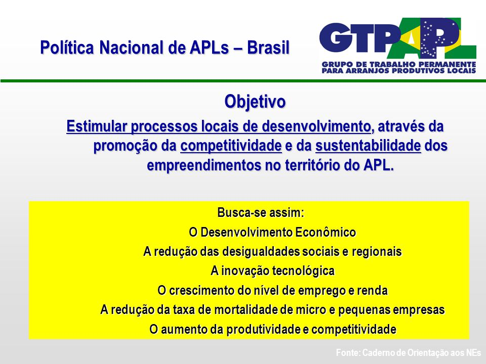 Objetivo Estimular processos locais de desenvolvimento, através da promoção da competitividade e da sustentabilidade dos empreendimentos no território do APL.