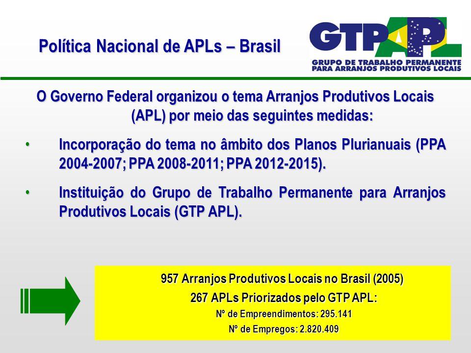 O Governo Federal organizou o tema Arranjos Produtivos Locais (APL) por meio das seguintes medidas: Incorporação do tema no âmbito dos Planos Plurianuais (PPA 2004-2007; PPA 2008-2011; PPA 2012-2015).