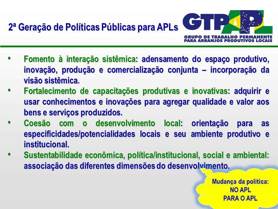 Instrumentos para Arranjos Produtivos Locais Eixo Estruturante Governança e Cooperação Integração institucional e parcerias na construção dos projetos.