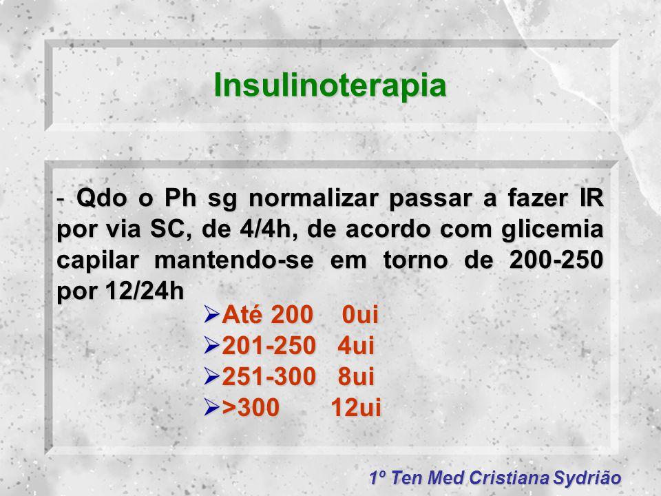 1º Ten Med Cristiana Sydrião Insulinoterapia -Qdo o Ph sg normalizar passar a fazer IR por via SC, de 4/4h, de acordo com glicemia capilar mantendo-se