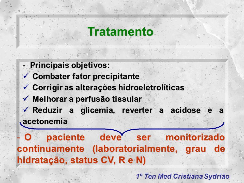 1º Ten Med Cristiana Sydrião Tratamento -Principais objetivos: Combater fator precipitante Combater fator precipitante Corrigir as alterações hidroele