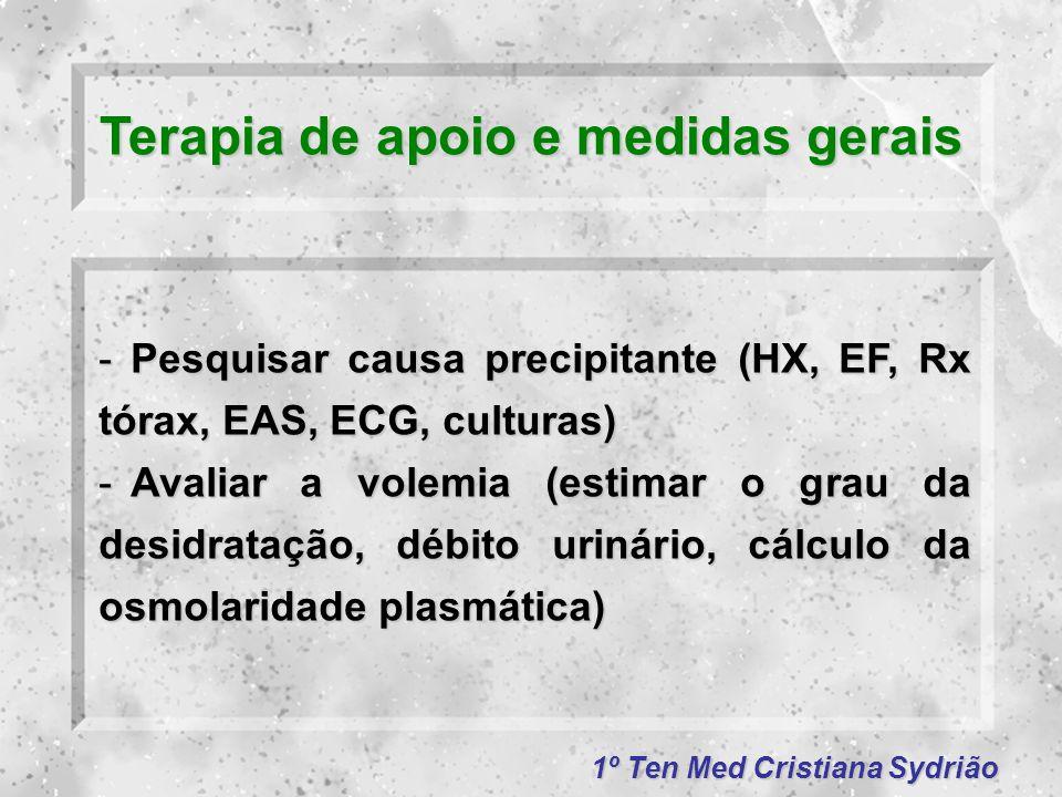 1º Ten Med Cristiana Sydrião Terapia de apoio e medidas gerais -Pesquisar causa precipitante (HX, EF, Rx tórax, EAS, ECG, culturas) -Avaliar a volemia