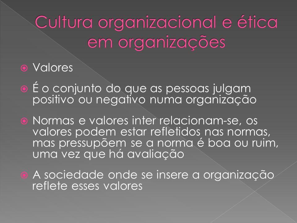  Valores  É o conjunto do que as pessoas julgam positivo ou negativo numa organização  Normas e valores inter relacionam-se, os valores podem estar refletidos nas normas, mas pressupõem se a norma é boa ou ruim, uma vez que há avaliação  A sociedade onde se insere a organização reflete esses valores
