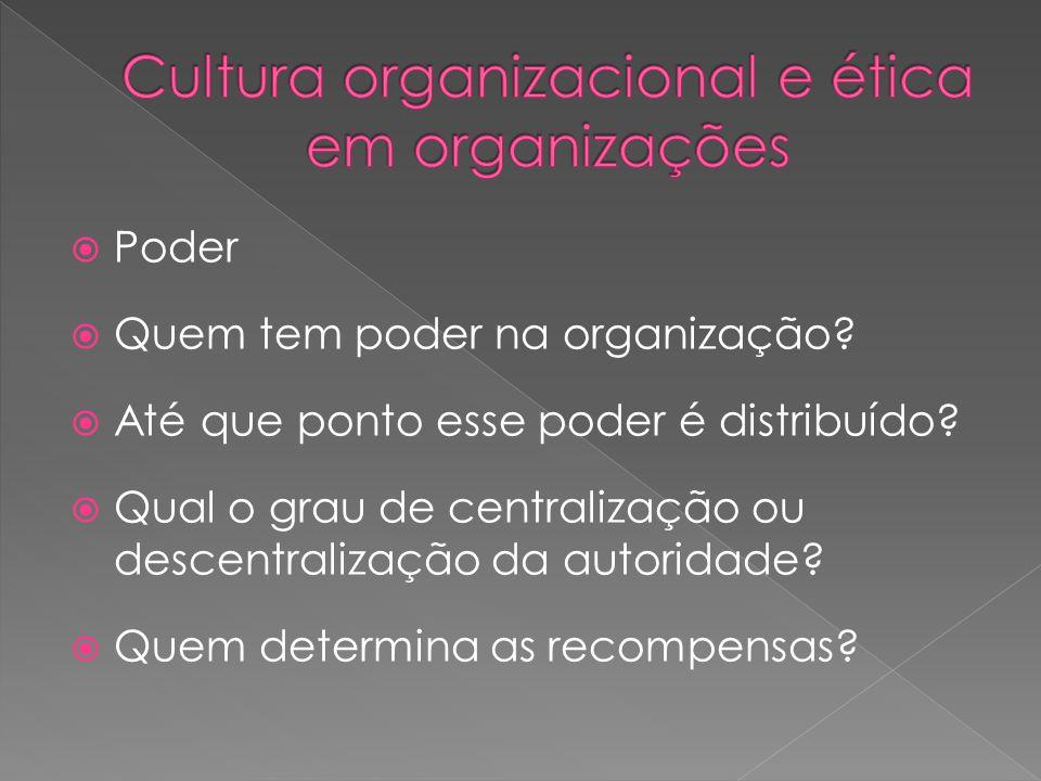  Poder  Quem tem poder na organização. Até que ponto esse poder é distribuído.