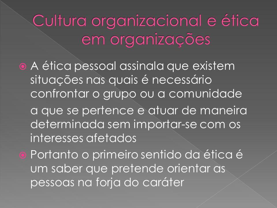 A ética pessoal assinala que existem situações nas quais é necessário confrontar o grupo ou a comunidade a que se pertence e atuar de maneira determ