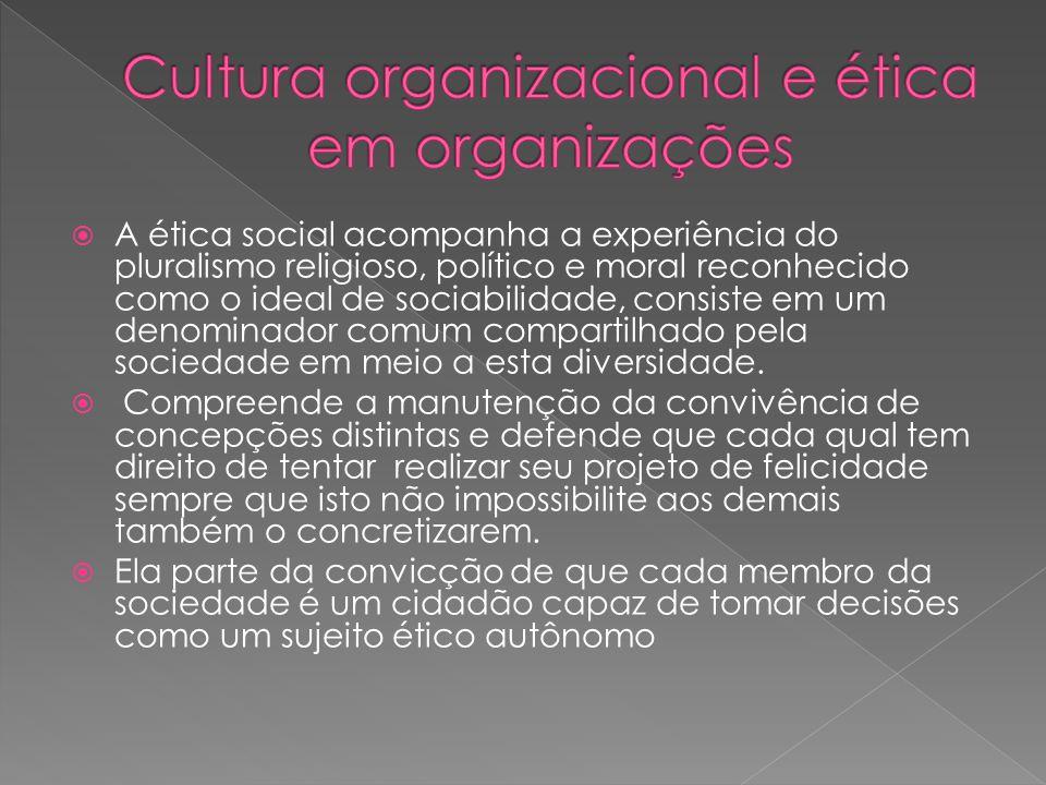  A ética social acompanha a experiência do pluralismo religioso, político e moral reconhecido como o ideal de sociabilidade, consiste em um denominador comum compartilhado pela sociedade em meio a esta diversidade.