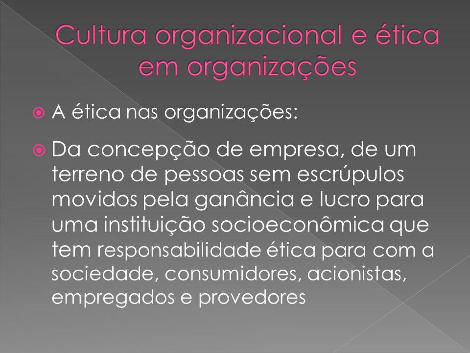  A ética nas organizações:  Da concepção de empresa, de um terreno de pessoas sem escrúpulos movidos pela ganância e lucro para uma instituição socioeconômica que tem r esponsabilidade ética para com a sociedade, consumidores, acionistas, empregados e provedores