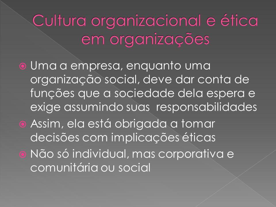  Uma a empresa, enquanto uma organização social, deve dar conta de funções que a sociedade dela espera e exige assumindo suas responsabilidades  Assim, ela está obrigada a tomar decisões com implicações éticas  Não só individual, mas corporativa e comunitária ou social