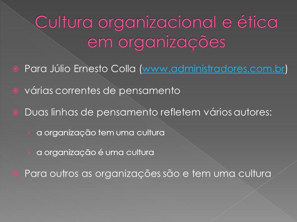  Para Júlio Ernesto Colla (www.administradores.com.br)www.administradores.com.br  várias correntes de pensamento  Duas linhas de pensamento refletem vários autores: › a organização tem uma cultura › a organização é uma cultura  Para outros as organizações são e tem uma cultura
