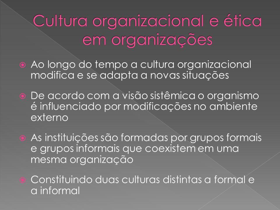  Ao longo do tempo a cultura organizacional modifica e se adapta a novas situações  De acordo com a visão sistêmica o organismo é influenciado por m