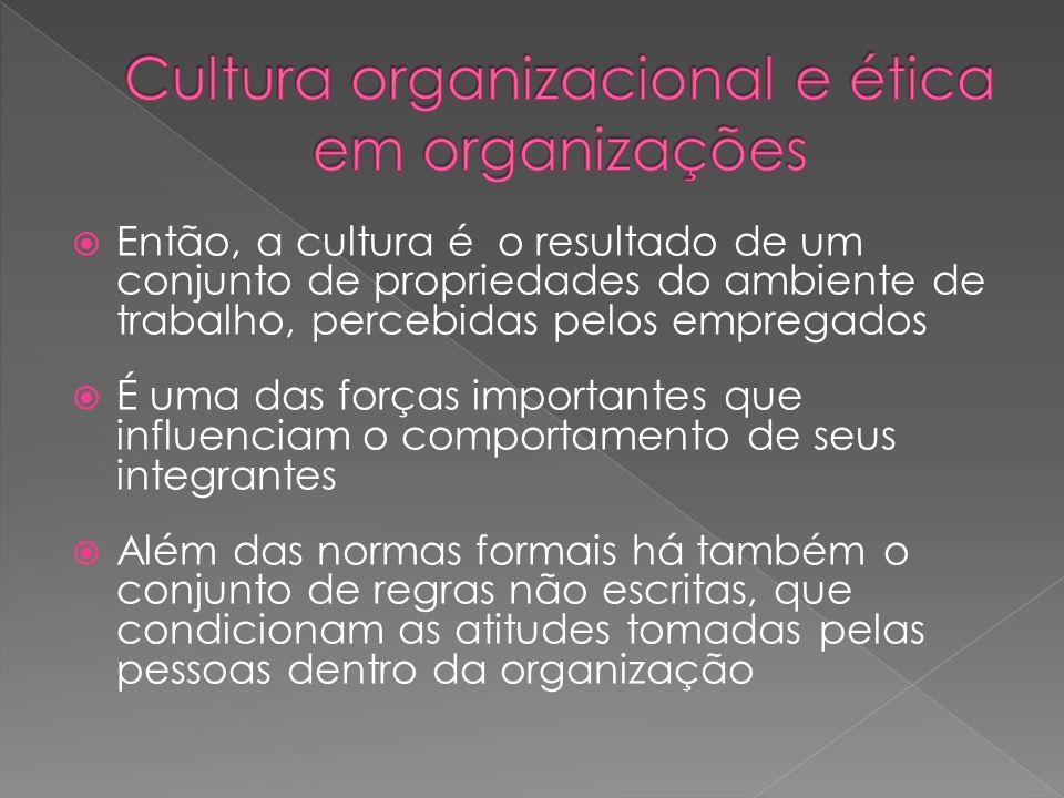  Então, a cultura é o resultado de um conjunto de propriedades do ambiente de trabalho, percebidas pelos empregados  É uma das forças importantes qu