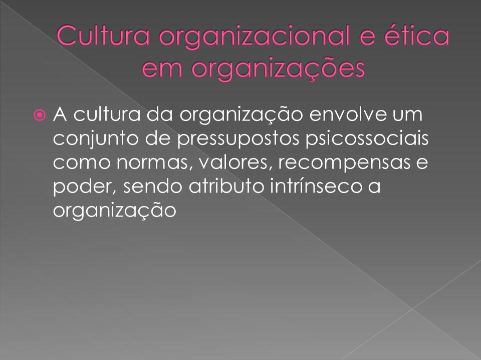  A cultura da organização envolve um conjunto de pressupostos psicossociais como normas, valores, recompensas e poder, sendo atributo intrínseco a or