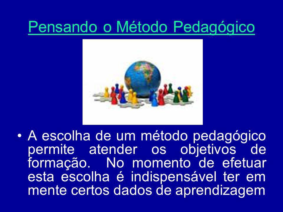 Pensando o Método Pedagógico A escolha de um método pedagógico permite atender os objetivos de formação. No momento de efetuar esta escolha é indispen