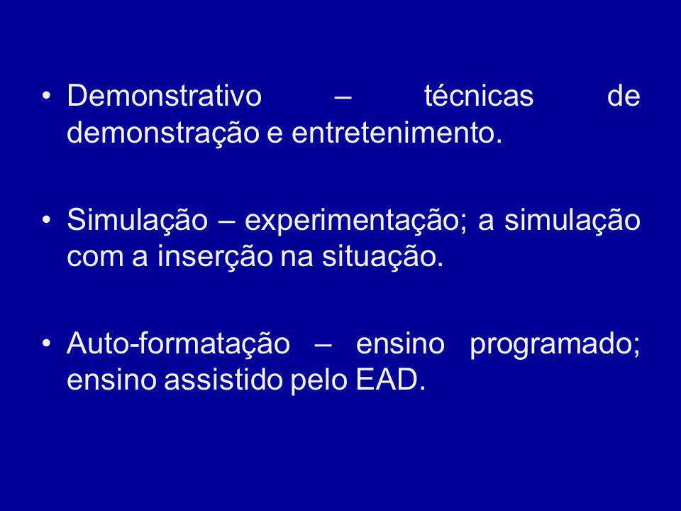 Demonstrativo – técnicas de demonstração e entretenimento. Simulação – experimentação; a simulação com a inserção na situação. Auto-formatação – ensin