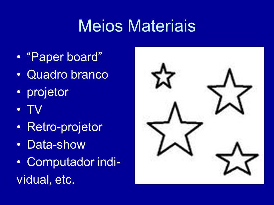 """Meios Materiais """"Paper board"""" Quadro branco projetor TV Retro-projetor Data-show Computador indi- vidual, etc."""