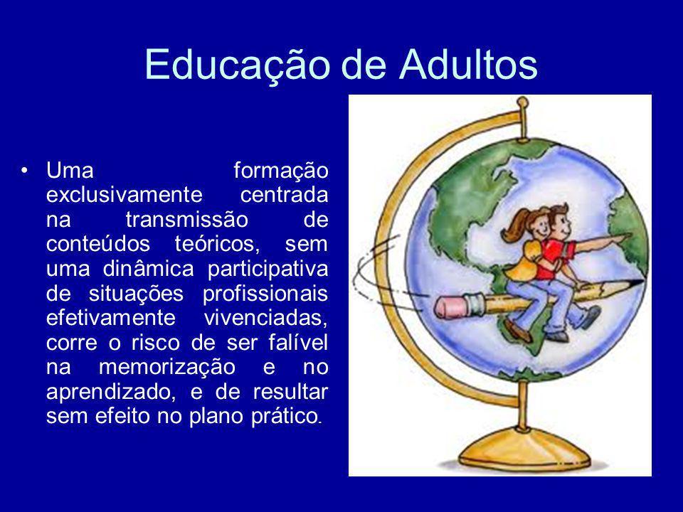 Educação de Adultos Uma formação exclusivamente centrada na transmissão de conteúdos teóricos, sem uma dinâmica participativa de situações profissiona