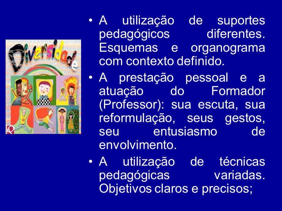 A utilização de suportes pedagógicos diferentes. Esquemas e organograma com contexto definido. A prestação pessoal e a atuação do Formador (Professor)