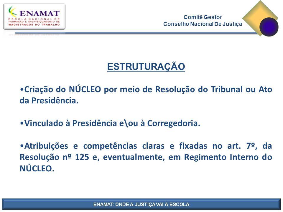 Comitê Gestor Conselho Nacional De Justiça ESTRUTURAÇÃO Criação do NÚCLEO por meio de Resolução do Tribunal ou Ato da Presidência.