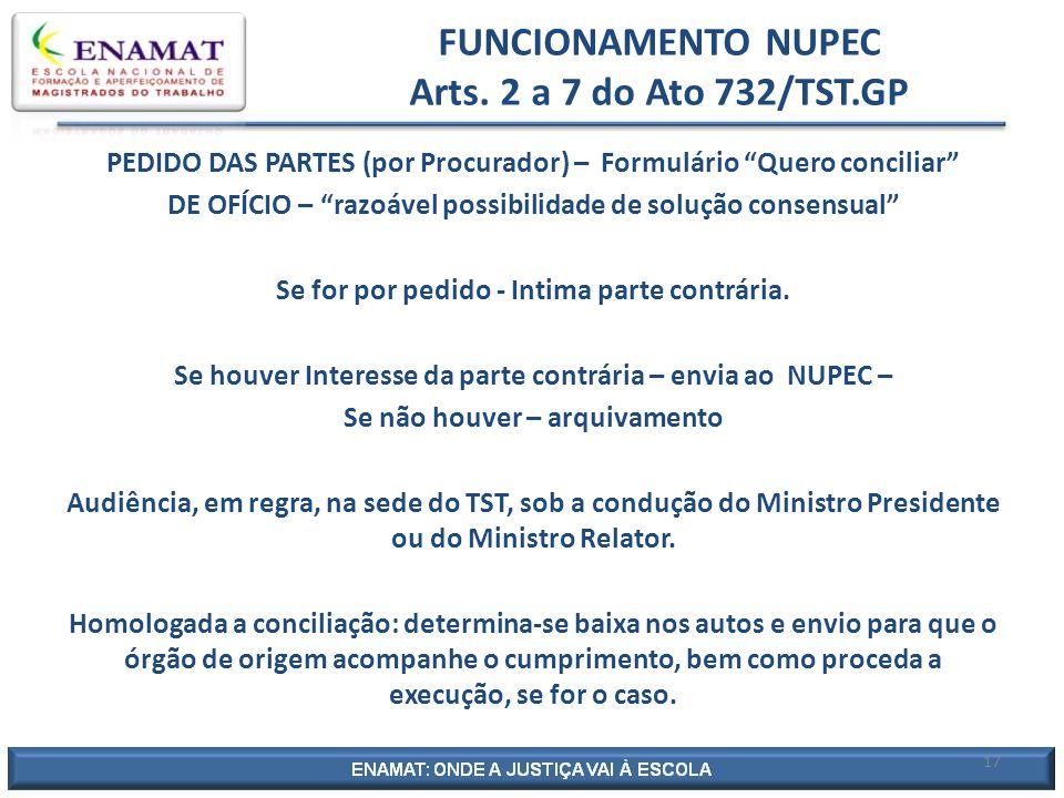 FUNCIONAMENTO NUPEC Arts.