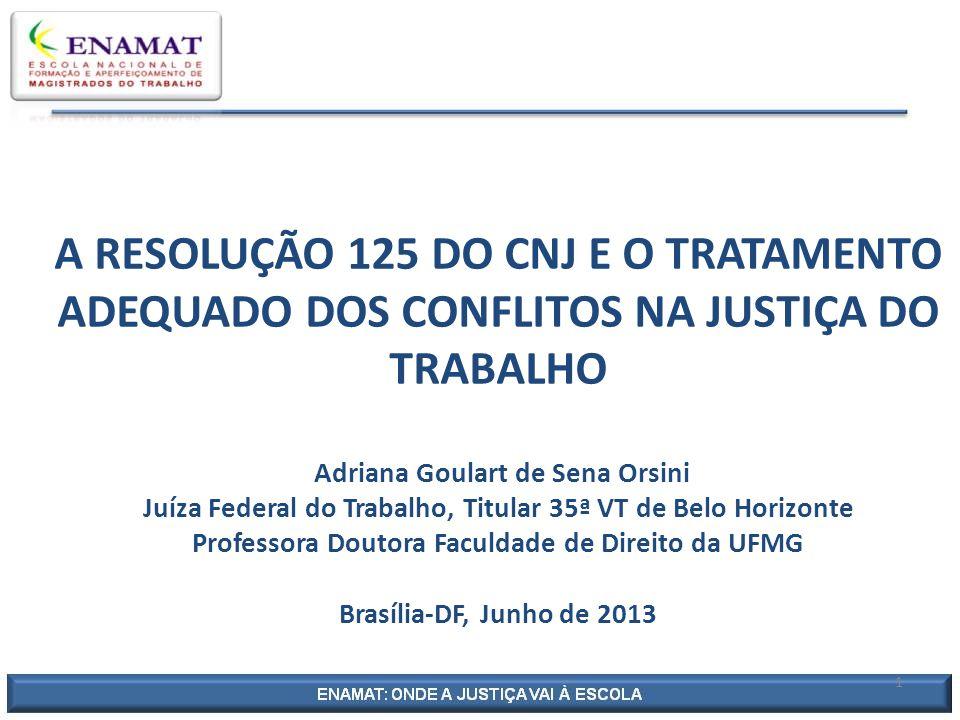 A RESOLUÇÃO 125 DO CNJ E O TRATAMENTO ADEQUADO DOS CONFLITOS NA JUSTIÇA DO TRABALHO Adriana Goulart de Sena Orsini Juíza Federal do Trabalho, Titular 35ª VT de Belo Horizonte Professora Doutora Faculdade de Direito da UFMG Brasília-DF, Junho de 2013 1