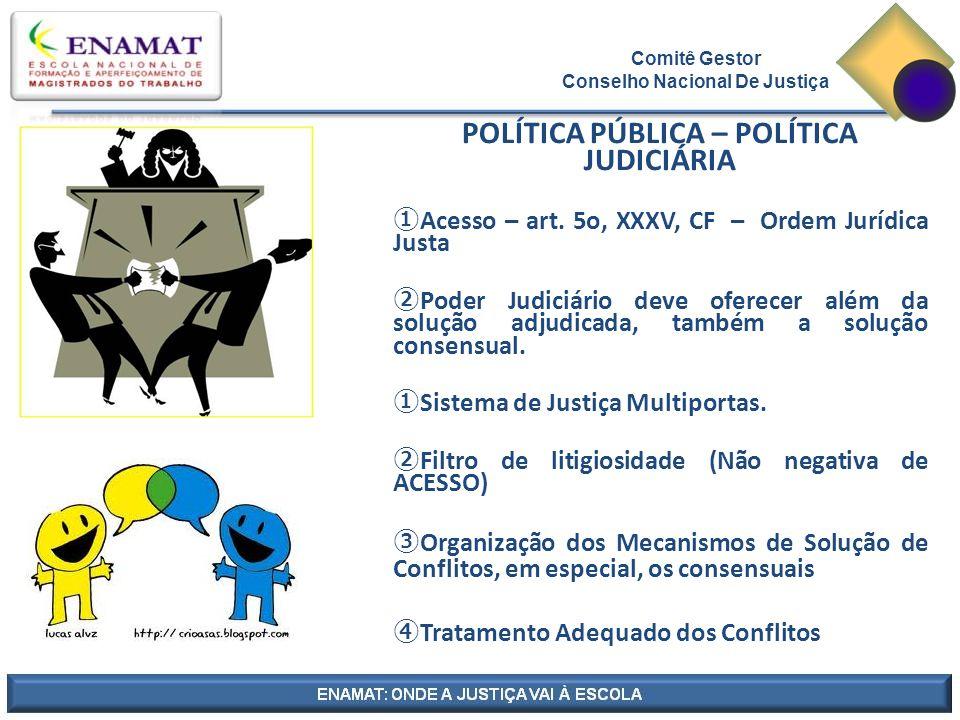POLÍTICA PÚBLICA – POLÍTICA JUDICIÁRIA ①Acesso – art.