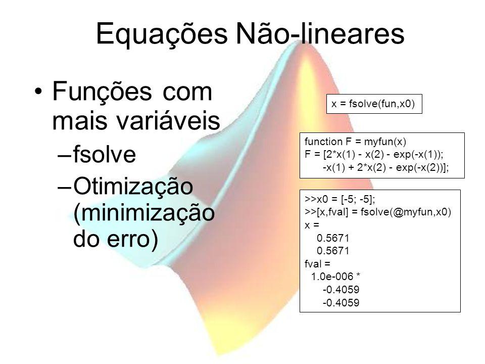 Equações Não-lineares Funções com mais variáveis –fsolve –Otimização (minimização do erro) x = fsolve(fun,x0) function F = myfun(x) F = [2*x(1) - x(2) - exp(-x(1)); -x(1) + 2*x(2) - exp(-x(2))]; >>x0 = [-5; -5]; >>[x,fval] = fsolve(@myfun,x0) x = 0.5671 fval = 1.0e-006 * -0.4059