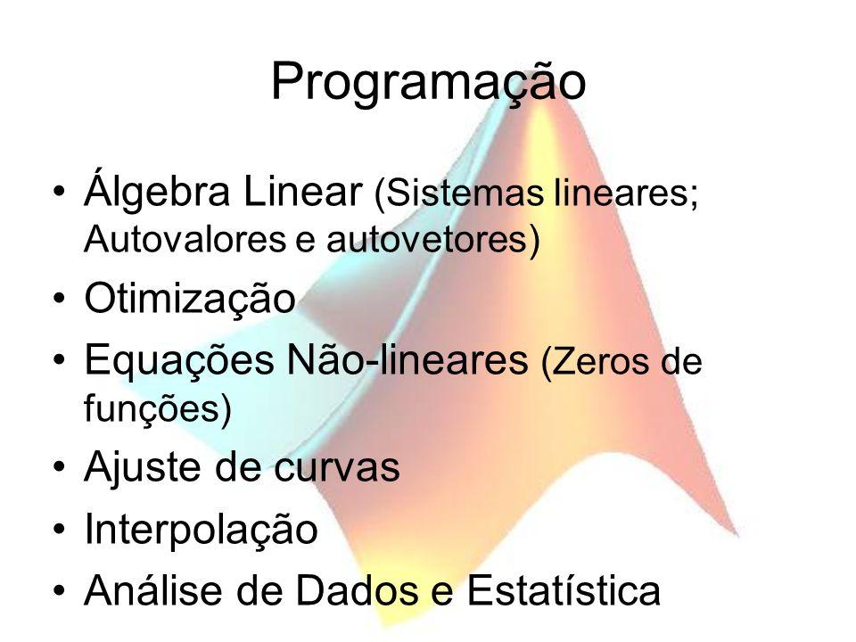 Programação Álgebra Linear (Sistemas lineares; Autovalores e autovetores) Otimização Equações Não-lineares (Zeros de funções) Ajuste de curvas Interpo